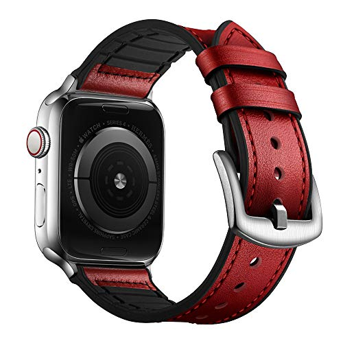 OUHENG Compatible with Apple Watch Band 42mm 44mm, Sweatproof Genuine Leather and Rubber Hybrid Band Strap Compatible with iWatch Series 5 Series 4 Series 3 Series 2 Series 1, Red