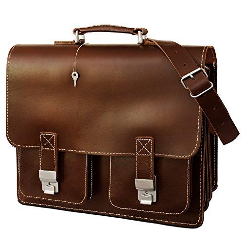 Große Aktentasche/Lehrertasche Größe XL aus Leder, für Damen und Herren, Braun, Hamosons 690