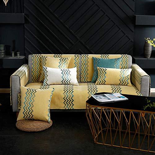QFYD FDEYL Sofaschoner,Stoff Sofakissen, Chenille Sofabezug-gelb_Sitzkissen 70 * 160cm,Slipcover Möbel Protektor-Verkauft