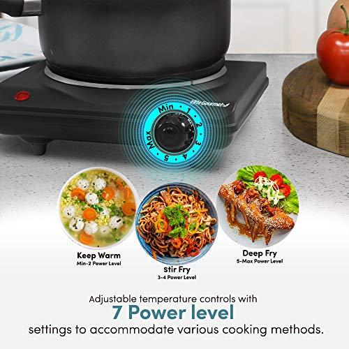 Elite Cuisine ESB-301BF Single Electric Flat Cast Iron Heating Plate Burner Power Indicator Light, Non-Skid Feet, Easy To Clean, 1000 Watts, Black