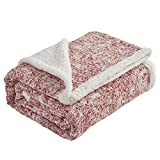 """SE SOFTEXLY Throw Blanket , Reversible Sherpa Blanket for Couch, Fuzzy Plush Fluffy Soft Blanket, Faux Fur Blanket Seasons for Couch Bed Sofa Chair (Red, 50"""" x60"""")"""