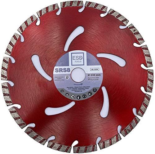ESD-TOOLS Diamant-Trennscheibe 230x22,2 mm, Beton Turbo, lasergeschweißt, zum Schneiden von Beton, Bordstein, Stahlbeton, Verbundstein und allgemeinen Baumaterialien