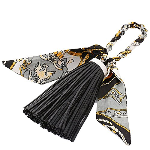 Material: Silk & PU Leather,Package includes:1 x hanging pendant . Size:Tassel Silk Pendant Long About 24cm,Scarf Keychain long about 30cm, Silk Bowknot Design. Tassels Silk Bowknot Pendant is a unique accessory that decorate your bag, purse, backpac...