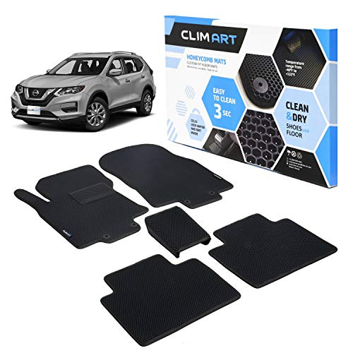 CLIM ART Honeycomb Custom Fit Floor Mats for Nissan Rogue 2014-2020, 1st & 2nd Row, Car Mats Floor Liner, All-Weather, Car Accessories for Man & Woman, Tapetes para Autos, Black/Black - FL011314017