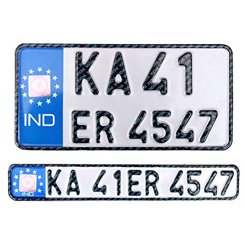 Innovqaraj Embossed Ind Number Plate for Bike| Fancy Blue | No...
