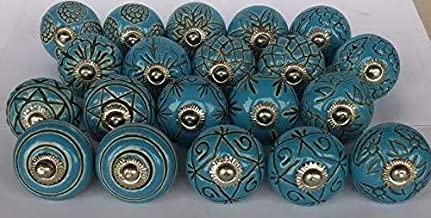 JGARTS 20 Blue Vinatge Look Mixed round flower shape Ceramic pottery Door knobs Cabinet Handle Cupboard Pulls Drawer pulle...