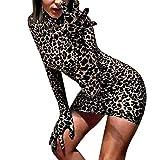 Abito Donna Leopardo Sexy Mini Abiti con Guanti Donna Discoteca Vestito Sera Cocktail 2020