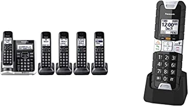 $214 » Panasonic Link2Cell Bluetooth Cordless Phone System (Silver) & Rugged Cordless Phone Handset Accessory Compatible with TGF...
