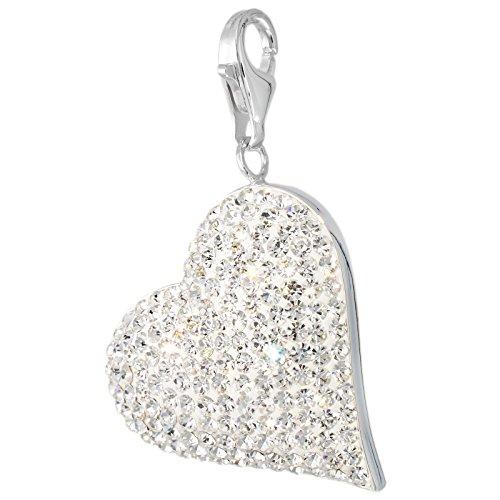Corazón MELINA Charm White cristales de Swarovski plata 925 1801865