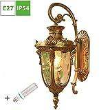Außen-Wandleuchte Rustikale Gartenlampe, IP54 Wasserdichte Außenwandlampe Gartenleuchte mit goldfarbigen Finish aus Aluminium, 4-seitig Glas Lampenschirm,1-flammig, E27- Lampenfassung - Warm Licht
