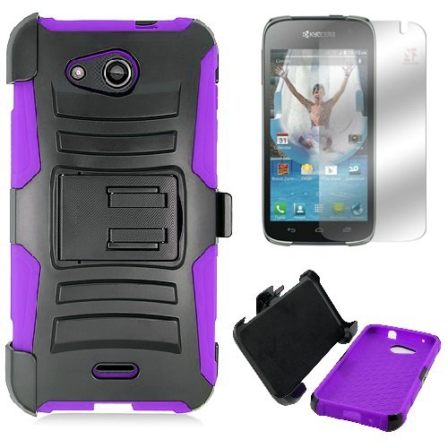 for Kyocera Hydro Wave C6740 (T-Mobile MetroPCS) Hydro Air C6745 (AT&T) Heavy Duty Impact Protection Combat Armor Kickstand Belt Clip Holster Case + LCD Screen Protector [SlickGearsTM] (Purple)