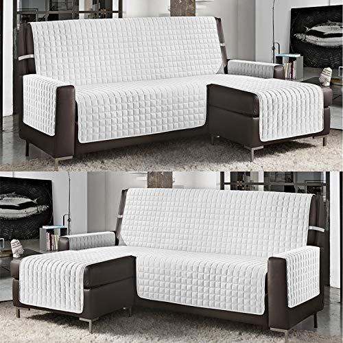 Banzaii Funda de Sofá Cubre Chaise Longue Acolchada Lisa 4 Plazas (290 cm) con Chaise Longue Izquierda/Derecha Blanco
