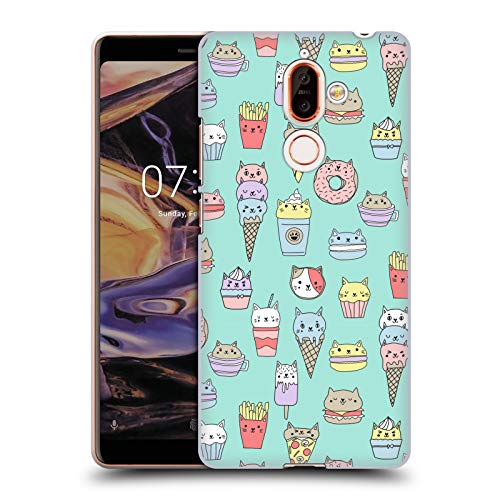 Officiële Andrea Lauren Design Kattenvoer Voedsel Patroon Hard Back Case Compatibel voor Nokia 7 Plus