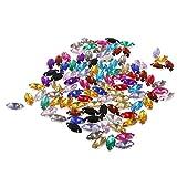 chiwanji 100pcs 7 * 15 Mm Acrílico Botones Tallados Flatback Beads Coser/Pegamento en Piedras Preciosas