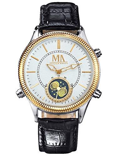 Meister Anker Herren Analog Uhr in Silberfarben mit Armband in Schwarz aus Leder