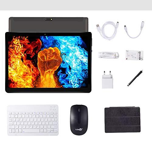 Android 7.0 3G-Tablet, 4 GB + 64 GB, Android-Tablet mit 10,0-Zoll-HD-IPS-Display, mit 2 SIM-Kartensteckplätzen, Quad-Core, 1,3 GHz, Bluetooth, WLAN, GPS, Dual-Kamera, (schwarz)