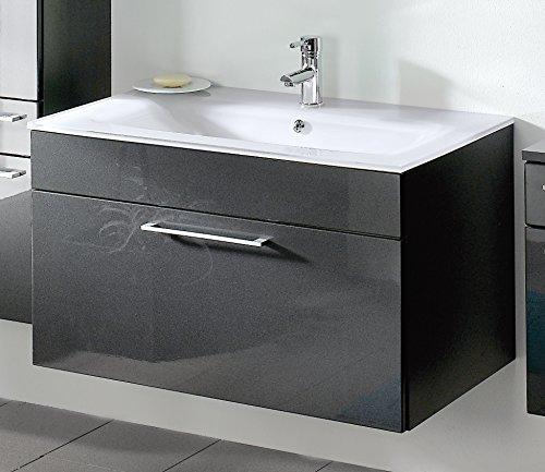 Preisvergleich Produktbild wohnfuehlidee Waschplatz Parma,  Breite 90 cm,  mit 1 Schublade und weißem Glasbecken,  Anthrazit