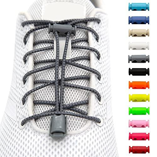 BENMAX SPORTS Schnürsenkel ohne Binden - Elastische Gummi Schuhbänder, Elastisch Schnellverschluss Elastic Shoelaces, Kinder Schuhe Zubehör, 1 Paar - 120 cm - 12 Bunte Farben (Grau, 1 Paar)