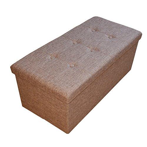 Style home Sitzbank Sitzhocker Faltbare Aufbewahrungsbox mit Stauraum, 76 x 38 x 38 cm, Leinen (Braun)