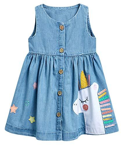 Toddler Girl Dress Summer Sleeveless Cotton Casual Blue Unicorn Imitation Denim Shirt Dresses 3T