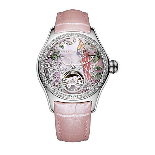 REEF TIGER Damen-Armbanduhr Analog Automatik Stahlgehäuse mit Lederband ORGA7105-YPPD