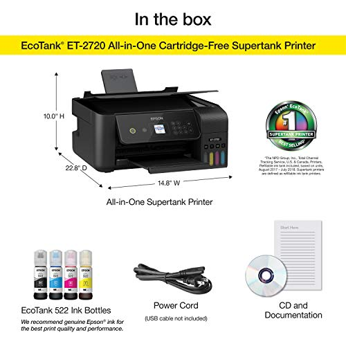 Epson EcoTank ET-2720 Wireless Color All-in-One Supertank Printer with Scanner and Copier - Black Photo #7
