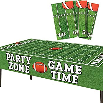 """Football Tablecloth Plastic   3 Pcs Party Pack  54"""" Inch Wide x 72"""" inch Long    Rectangular Game Day Table Cover   Football Party Touchdown Tablecloth   Party Zone Tailgate Table Cover  by Anapoliz"""