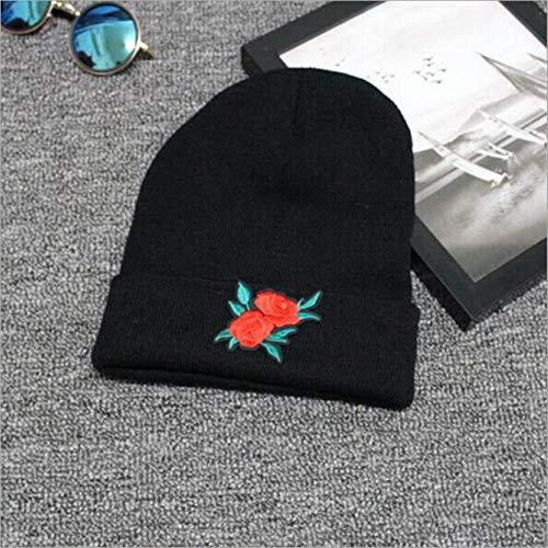 anyuq66qq Sombrero De Invierno Sombreros De Invierno Cálidos para Adultos Sombrero De Gorro De Punto con Nombre De Rosa Bordado Personalizado con Bordado De Puño Personalizado, como Muestra La Foto