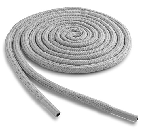 OrthoStep Thick Round Athletic 36 inch Light Grey Shoe laces - Thick Shoe and Hiking Boot Laces 2 Pair Pack