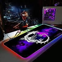 マウスパッド紫色の背景ドラゴンラージRGBゲーミングマウスマットパッド14モード特大の光るLEDマウスパッド滑り止めラバーベース特大キーボードマウスマット300x700mm