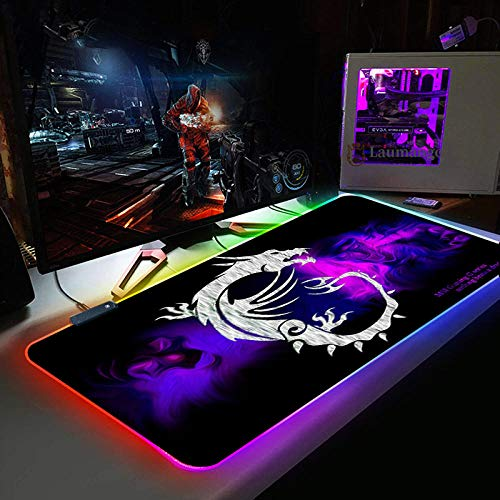 Mouse Pads Purple Background Dragon Large Gaming Mouse Pad Gamer Locking Edge Keyboard Mouse Mat Gaming Grande Desk Mousepad for CSGO Games 19.69'x39.37'