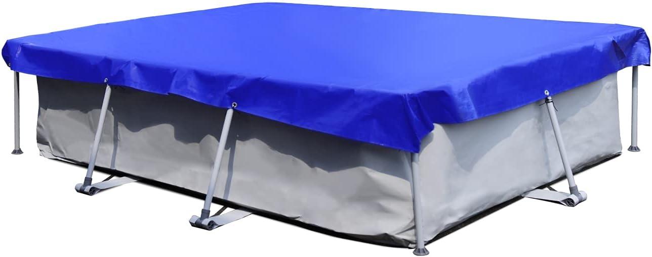 Sekey Cobertor para Piscina Rectangular 264×184 cm, 200 g/m² PE Lona de Protección Impermeable para Piscina Desmontable, Azul