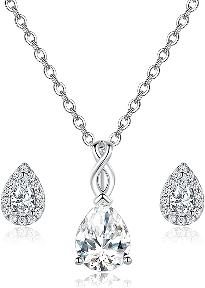 Teardrop Pendant Necklace and Earring Set 18K White Gold Plated Halo Cubic Zirconia Hypoallergenic Jewelry for Women