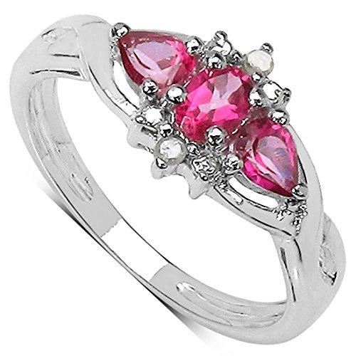La Colección Anillo Topacio: Anillo de Plata de Topacio rosa con set Diamantes genuinos,...