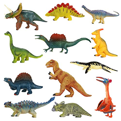 welltop 12 Confezioni di Giocattoli Jurassic Era Piece Dinosauri , Mini Figure di Dinosauri Forniture educative realistiche per Feste di Dinosauro per 3 Anni includono Tyrannosaurus Rex