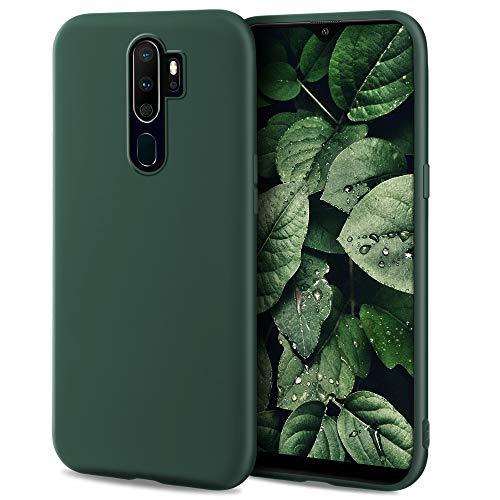 Moozy Minimalist Series Funda Silicona para OPPO A9 2020, Verde Oscuro con Acabado Mate, Cover Carcasa de TPU Suave y Fina