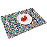 Strawberryran Bauhaus Chevron Small Repeat Table Manteles Individuales para Mesa de Comedor, Mantel Individual Lavable Juego de 6 (12X18 Pulgadas) Resistente al Calor