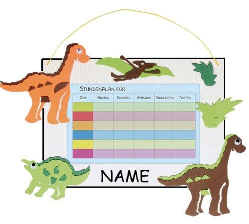 alles-meine.de GmbH Bastelset Stundenplan - Schule / Schulplaner für Schulstunden - Dinosaurier Tier grün weiß Junge - incl. Namen