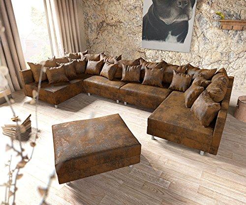 DELIFE Couch Clovis XL Braun Antik Optik mit Hocker Wohnlandschaft Modules Sofa