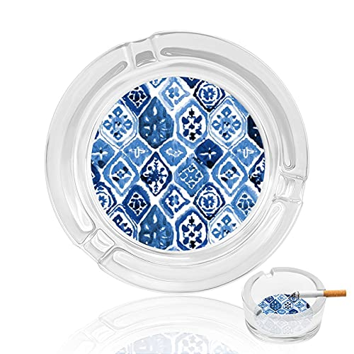 Cenicero de cigarrillo de cristal transparente antideslizante, bandeja redonda utilizada para fumadores en casa, oficina, jardín, decoración y regalo, arte de azulejos árabes