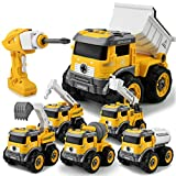 Gizmovine 6 in 1 Construction Toys for 4 Year Old Boys Take Apart Toys with Electric Drill Converts...