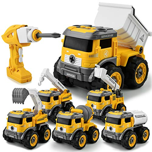 Gizmovine 6 in 1 Construction Toys for 4 Year Old Boys Take Apart Toys with Electric Drill Converts to Remote Control Car Truck Toys for Boys 3,4,5,6,7 Year Olds Great Gifts Kids Stem Building Toys
