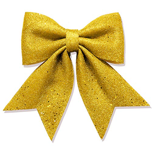 Vesil Large Gold Glitter Ribbon Bow Tie Christmas Decorations, 10' x 11'