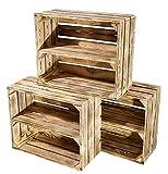 3 kleine geflammte Kiste für Schuhregal und Bücherregal - Obstkiste flambiert mit Mittelbrett längs - Holzkiste aus dem Alten Land - massiv stabil - Kistenregal Obstkistenregal 50x40x22cm