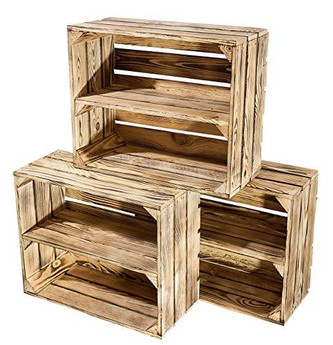 3er Set kleine geflammte Kiste für Schuhregal und Bücherregal - Obstkiste flambiert mit Mittelbrett längs - Holzkiste aus dem Alten Land - massiv stabil - Kistenregal Obstkistenregal 50x40x22cm