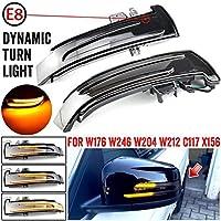 AL 2ピース ダイナミック ウインカー LED ライト サイド ミラー インジケーター 対応車種: メルセデス スモーク ブラック AL-JJ-6786-T002
