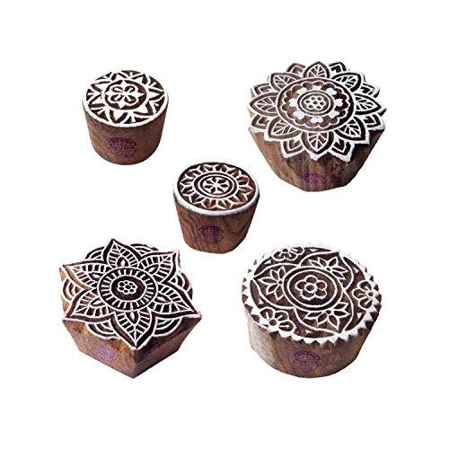 Städtisch Muster Mandala und Runden Hölzern Blöcke Stempel (Set von 5)