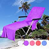 QCWN Funda para silla de playa, de microfibra, para silla de piscina, tumbona, tumbona de jardín, con bolsa de bolsillos, Púrpura #1