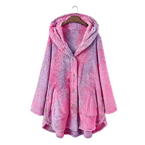Kapuzenjacke Damen Button Tie-Dye Plüsch Windbreaker Hooded Mantel Loose Cardigan Wollmantel Jacke mit Tasche, Violett, XL