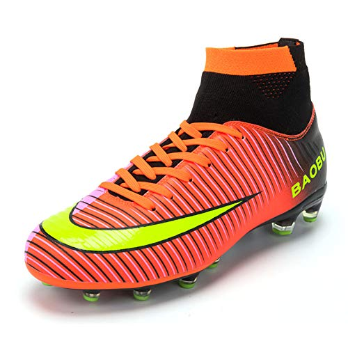 Scarpe da Calcio da Uomo Sportive Leggere Scarpe da Esterno Scarpe da Calcio Scarpe da Calcio Alte Scarpe da Calcio (EU 42, Red)